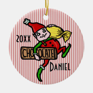 Cute Vintage Candy Christmas Elf Customizable Ceramic Ornament