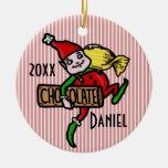Cute Vintage Candy Christmas Elf Customizable Christmas Tree Ornaments