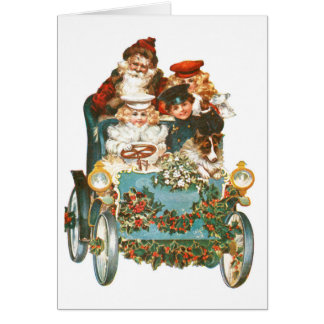 Cute Vintage Car | Santa Claus Christmas Card