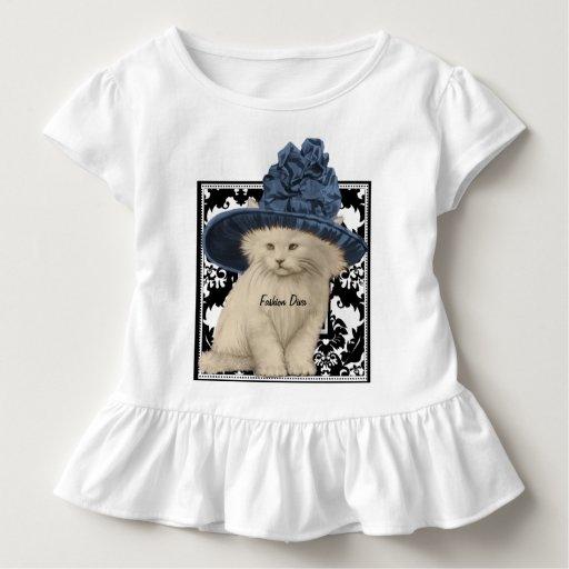 Cute Vintage Cat Blue Hat Fashion Diva T-shirt