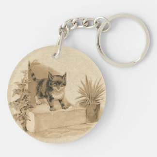 Cute Vintage Cat Drawing Antique French Card Keychain