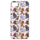 Cute Vintage Cat Drawing Pattern iPhone 5/5S Cases