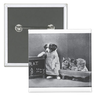 """Cute vintage cats and dogs (2"""") Square Badge Pinback Button"""