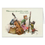 Cute Vintage Cats Playing Music Card
