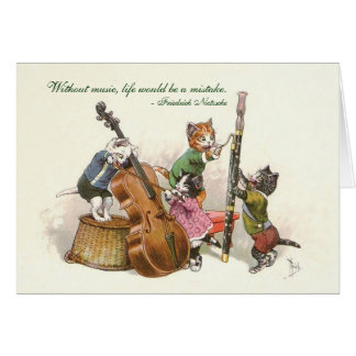 Cute Vintage Cats Playing Music Greeting Cards