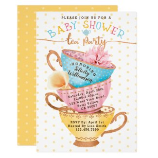 Cute Vintage Chic Tea Party Baby Shower Invitation
