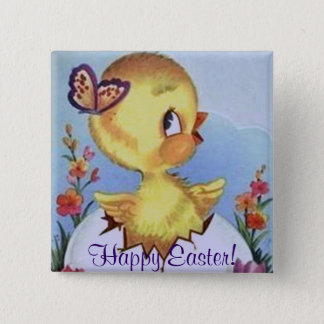 Cute Vintage Chick & Butterfly - Happy Easter! Pin