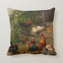 Cute Vintage chickens and roosters decor pillow