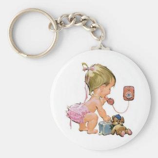 Cute Vintage Child on Telephone (Customisable) Basic Round Button Keychain