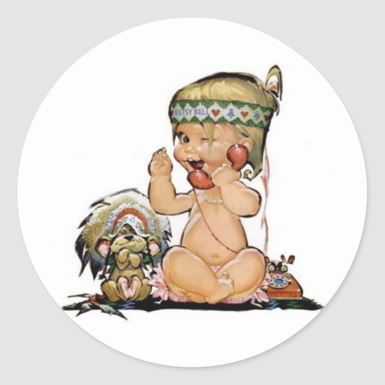 Cute Vintage Child on Telephone No3 Classic Round Sticker