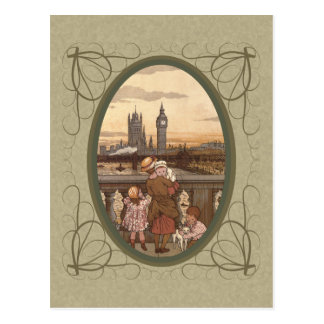 Cute Vintage children on London Bridge Postcards