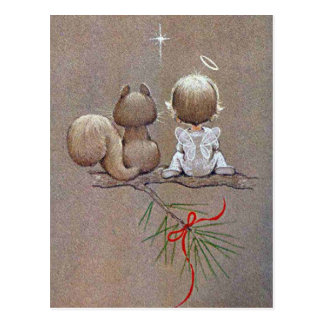 Cute Vintage Christmas Angel and Squirrel Postcard