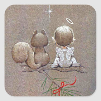 Cute Vintage Christmas Angel and Squirrel Square Sticker
