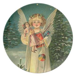 Cute Vintage Christmas Angel Dinner Plate