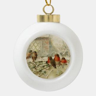 Cute Vintage Christmas Baby Robins Ceramic Ball Christmas Ornament