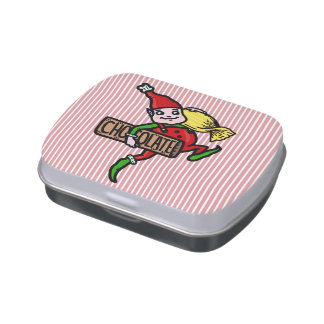 Cute Vintage Christmas Elf with Candy Jelly Belly Candy Tin
