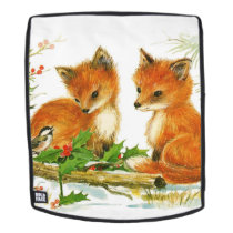 Cute Vintage Christmas Foxes Backpack
