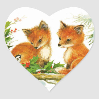 Cute Vintage Christmas Foxes Heart Sticker