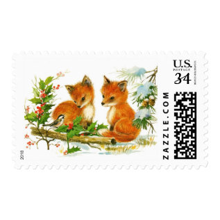 Cute Vintage Christmas Foxes Postage at Zazzle