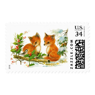 Cute Vintage Christmas Foxes Postage