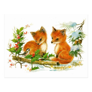 Cute Vintage Christmas Foxes Postcard