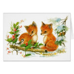 Cute Vintage Christmas Foxes Stationery Note Card