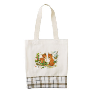 Cute Vintage Christmas Foxes Zazzle HEART Tote Bag