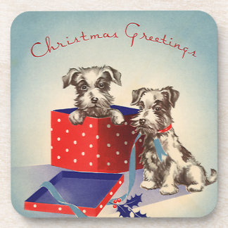 Cute Vintage Christmas Greetings Puppy Dogs Beverage Coaster