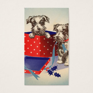 Cute Vintage Christmas Greetings Puppy Dogs Business Card