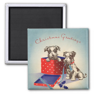 Cute Vintage Christmas Greetings Puppy Dogs Magnet