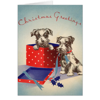 Cute Vintage Christmas Greetings Puppy Dogs Stationery Note Card