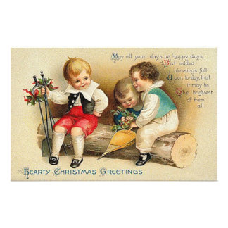 Cute Vintage Christmas Kids Stationery