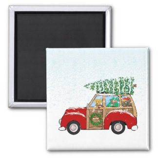 Cute Vintage Christmas Woody Wagon Magnet
