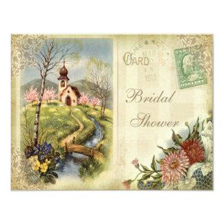 Cute Vintage Church Bridal Shower Card