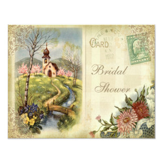 Cute Vintage Church Bridal Shower 4.25x5.5 Paper Invitation Card