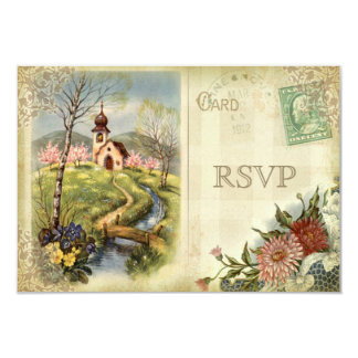 Cute Vintage Church RSVP Wedding Custom Invitation