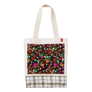 Cute vintage colorful floral texture zazzle HEART tote bag