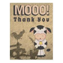 Cute Vintage Cow and Farm Animals MOOO! Thank You Postcard