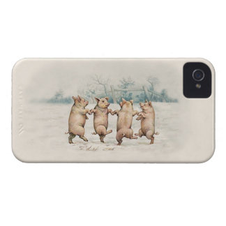 Cute Vintage Dancing Pigs - Funny Animals iPhone 4 Case-Mate Case