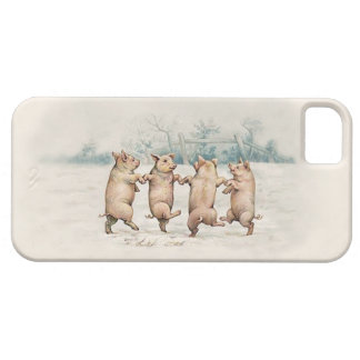Cute Vintage Dancing Pigs - Funny Animals iPhone 5 Cases