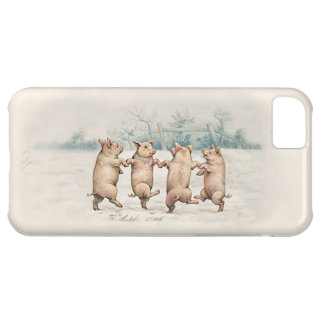 Cute Vintage Dancing Pigs - Funny Animals iPhone 5C Cases