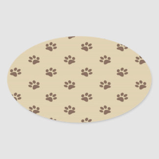 Cute vintage dog paws girly oval sticker