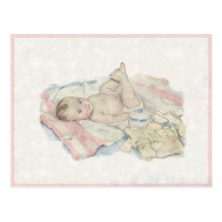 Cute Vintage Drawing Of A Sweet Little Baby Postcard