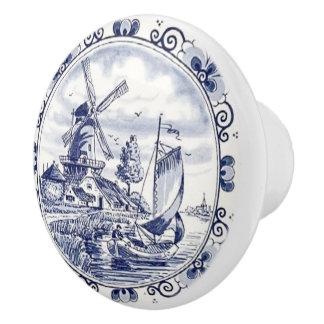 Cute Vintage Dutch Windmill Sailboat Delft Blue Ceramic Knob