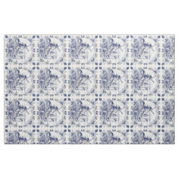 Cute Vintage Dutch Windmill Sailboat Delft Blue Fabric