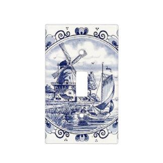 Cute Vintage Dutch Windmill Sailboat Delft Blue Light Switch Plate