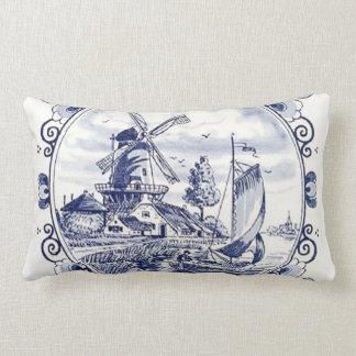 Cute Vintage Dutch Windmill Sailboat Delft Blue Lumbar Pillow