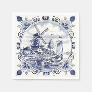 Cute Vintage Dutch Windmill Sailboat Delft Blue Napkin