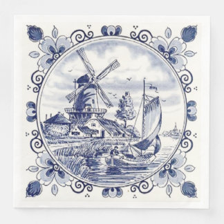 Cute Vintage Dutch Windmill Sailboat Delft Blue Paper Dinner Napkin