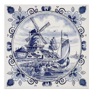 Cute Vintage Dutch Windmill Sailboat Delft Blue Poster